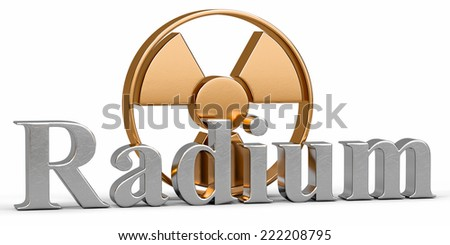 3d render radium chemical element with symbol Radiation - stock photo