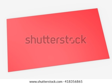 3d render red blank business card on white background