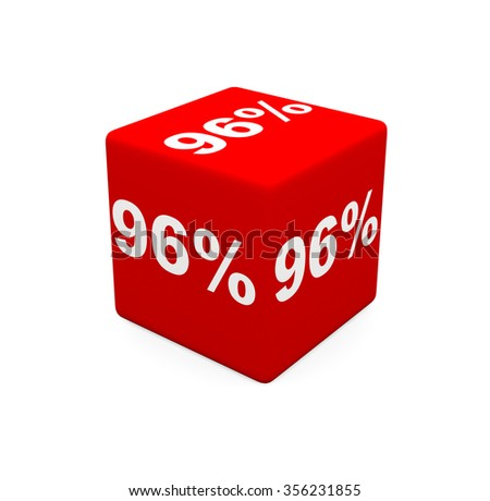 3d render red cube with 96 percent on a white background.