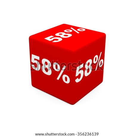 3d render red cube with 58 percent on a white background.