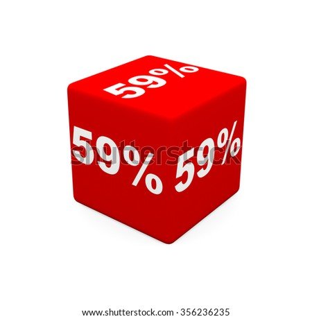 3d render red cube with 59 percent on a white background.