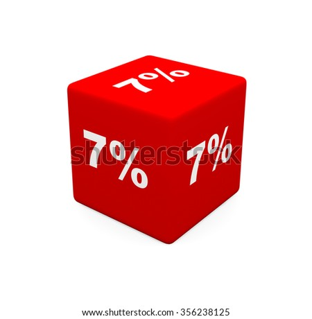 3d render red cube with 7 percent on a white background.