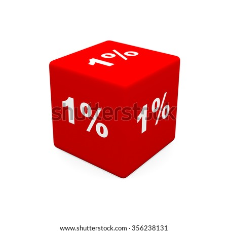 3d render red cube with 1 percent on a white background.