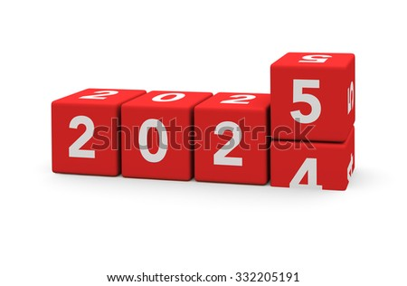 3d render red cubes New Year 2025 and past year on a white background.
