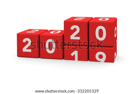 3d render red cubes New Year 2020 and past year on a white background.