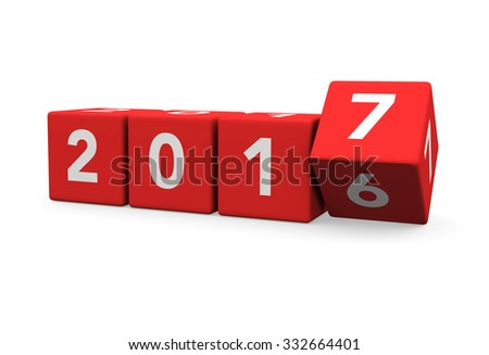 3d render red cubes New Year 2017 and past year on a white background.  - stock photo