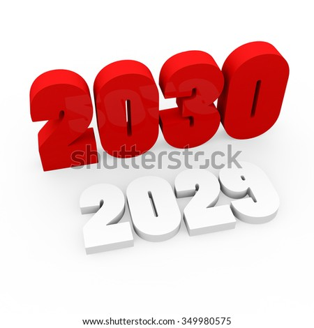 3d render red cubes New Year 2030 and past year on a white background.