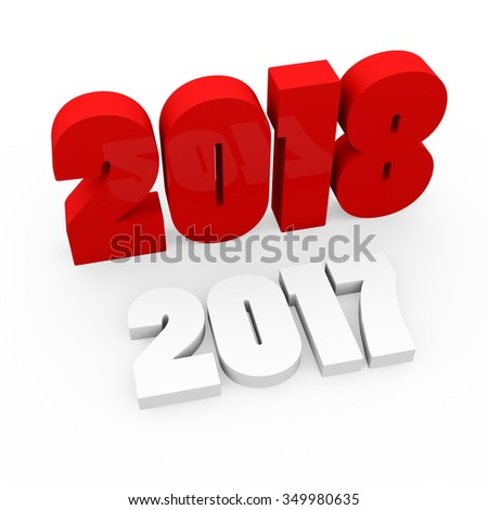 3d render red cubes New Year 2018 and past year on a white background.  - stock photo