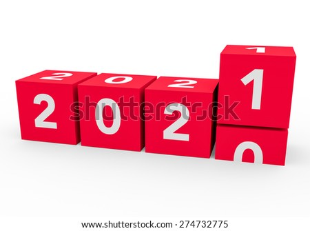 3d render red cubes New Year 2021 on a white background.  - stock photo