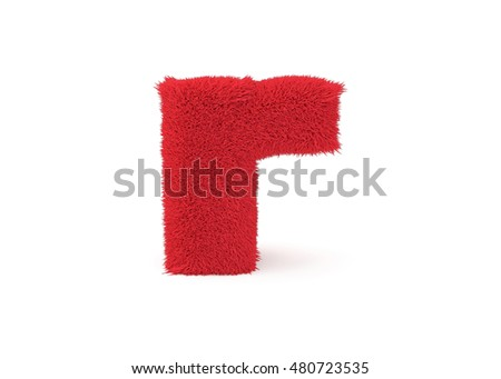 3d render red furry lowercase letter R on a white background.