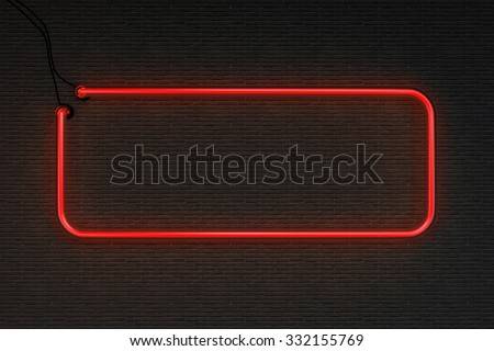3d render red neon frame isolated on black brick wall background - stock photo