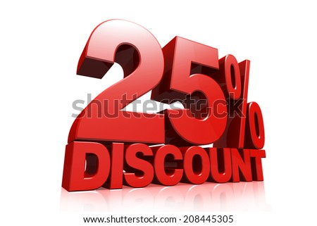3D render red text 25 percent discount on white background with reflection