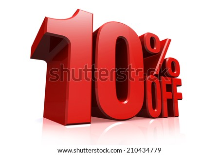 3D render red text 10 percent off on white background with reflection. - stock photo