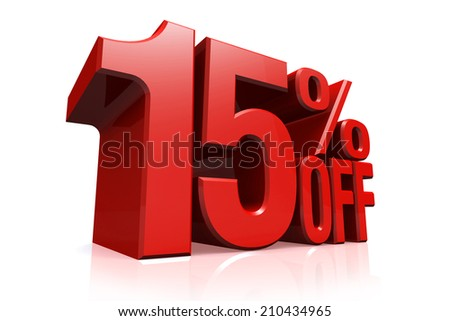 3D render red text 15 percent off on white background with reflection. - stock photo