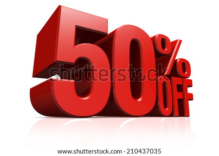 3D render red text 50 percent off on white background with reflection. - stock photo