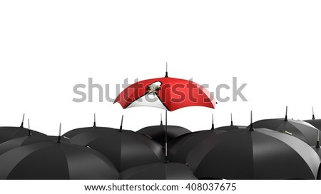 3d render Red umbrella stand out from the crowd of many black and white umbrellas. Business, leader concept, being different concepts - stock photo