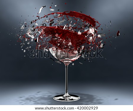 3d render Red wine pouring in breaking glass - stock photo