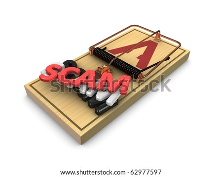 3d render, scamp trap concept isolated on white background. - stock photo
