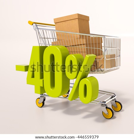 3d render: shopping cart and green 40 percentage discount sign on white - stock photo