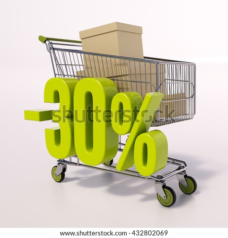 3d render: shopping cart and green 30 percentage discount sign on white, sale 30% - stock photo