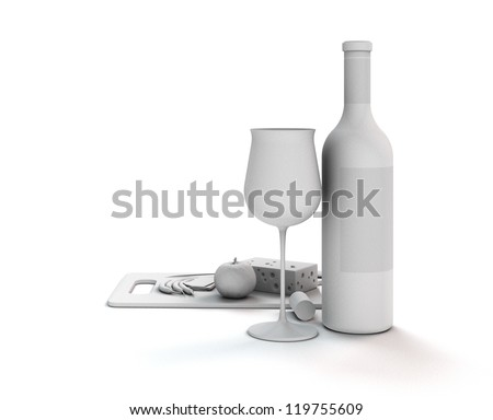 3d render showing a white abstract still life with wine
