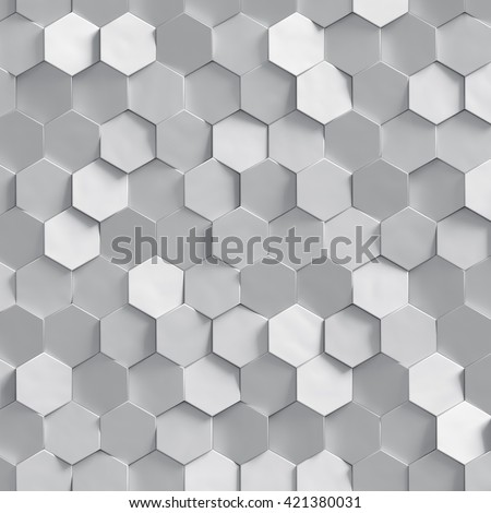 3d render, silver honeycomb texture, white clusters digital illustration, abstract geometric background - stock photo