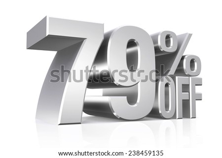 3D render silver text 79 percent off on white background with reflection.