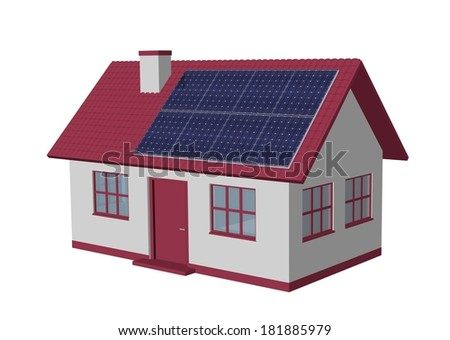 3d render simple house model with Solar Panels - stock photo