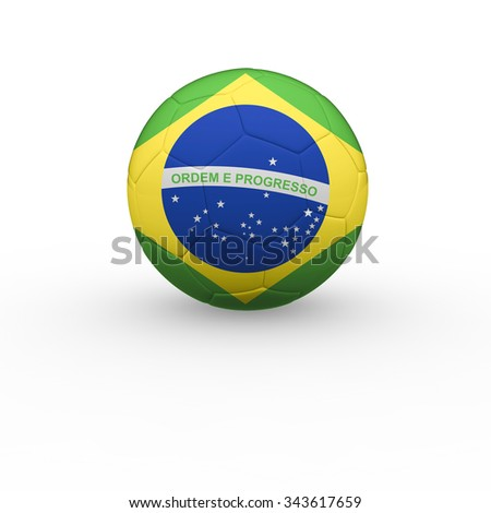 3d render soccer ball with a brazilian flag on a white background.