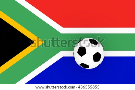 3d render South Africa football with a flag an a soccer ball.  - stock photo