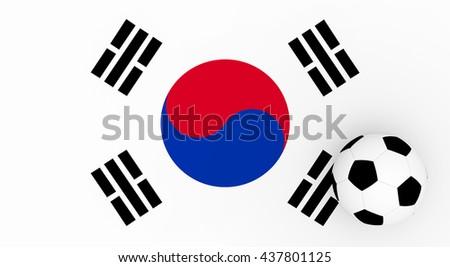 3d render South Korea football with a flag an a soccer ball.  - stock photo