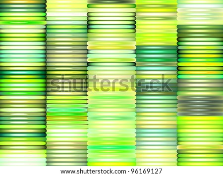3d render stacked glossy pipes in multiple green - stock photo