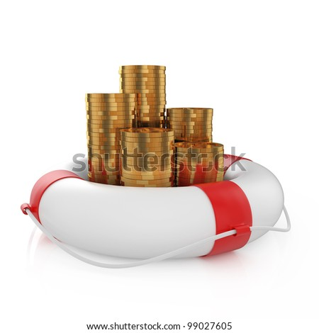 3d render stacks of coins with lifebuoy isolated on white background - stock photo