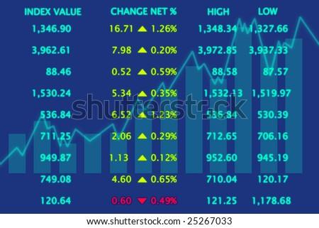3d Render Stock Market Graph - stock photo