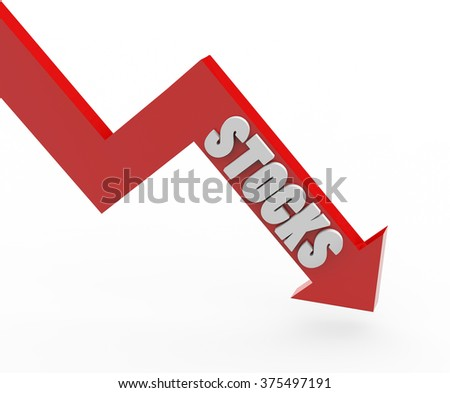 3d render Stocks word in a red arrow on a white background.  - stock photo