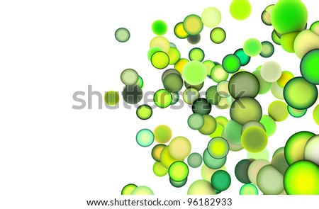 3d render strings of balls in multiple shades of green - stock photo