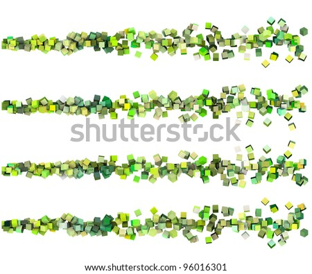 3d render strings of cubes in multiple shades of green - stock photo