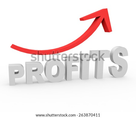 3d render success concept with Profits word and growing red arrow on a white background.