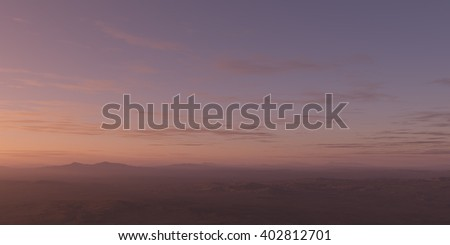 3D RENDER - Sunset from altitude - stock photo