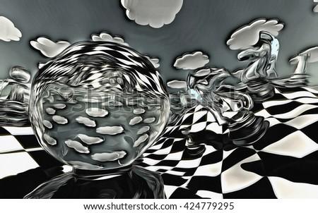 3D Render Surreal Landscape - stock photo