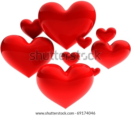 3D render - sweet beautiful hearts on white background - stock photo