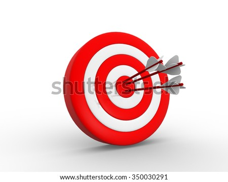 3d render target and arrows - stock photo
