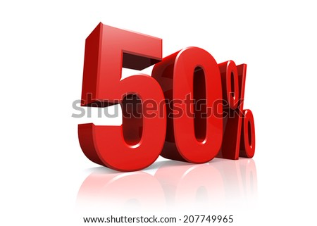3D render text in 50 percent in red on white background with reflection - stock photo