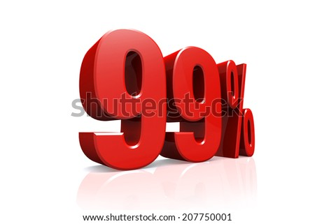 3D render text in 99 percent in red on white background with reflection - stock photo