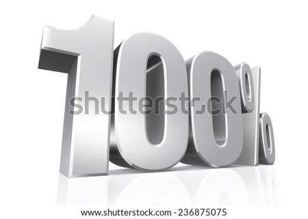 3D render text in 100 percent in silver on white background with reflection. - stock photo