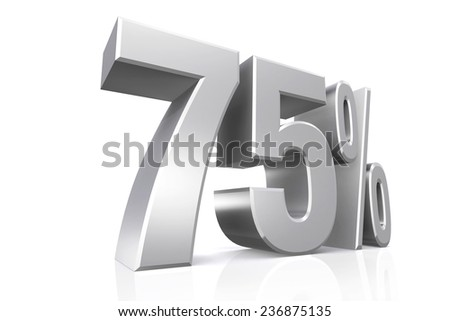 3D render text in 75 percent in silver on white background with reflection.