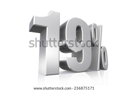 3D render text in 19 percent in silver on white background with reflection.