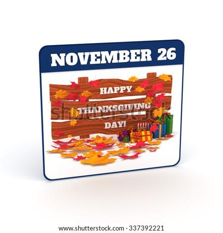 3D Render: Thanksgiving calendar, Isolated on white background. - stock photo