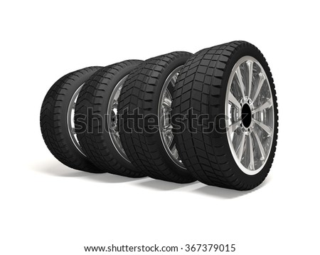 3d render tires isolated on white background