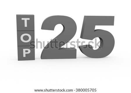3d render Top 25 on a white background.